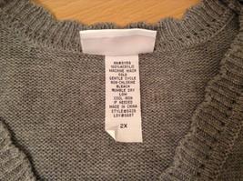 National Gray Vest Leaf Pattern Stripes Knitted V Neck Size 2X Button Closure image 8