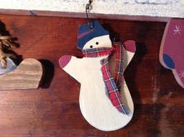 Let It Snow Wooden Wall Hanging Decoration Wooden Skate Snowman and Glove image 4