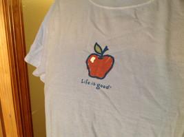 Life is Good Light Blue Life is Good Apple Short Sleeve Shirt Size Medium image 3