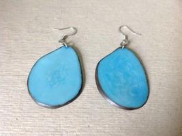 Light Blue Flat Tagua Earrings Dyes Handmade Black Outline Dangling image 2
