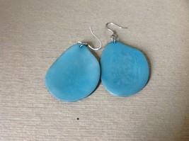 Light Blue Flat Tagua Earrings Dyes Handmade Black Outline Dangling image 3
