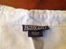 Light Blue Button Up Short Sleeve Lands End Blouse 100 Percent Linen Size M image 5