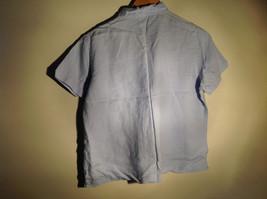 Light Blue Button Up Short Sleeve Lands End Blouse 100 Percent Linen Size M image 4