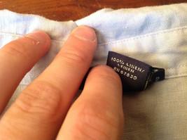 Light Blue Button Up Short Sleeve Lands End Blouse 100 Percent Linen Size M image 7