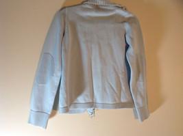 Light Blue Double Zipper Sweater 2 Pockets 100% Cotton Size Medium image 6