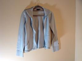 Light Blue Double Zipper Sweater 2 Pockets 100% Cotton Size Medium image 8