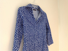 Navy White Oval Spots Shirt Princess Seams New York and Company Size XS image 2