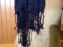 Navy Scrunched Style Silk Blend Fashion Scarf by Look Tasseled TAGS ATTACHED image 4