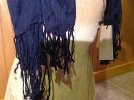 Navy Scrunched Style Silk Blend Fashion Scarf by Look Tasseled TAGS ATTACHED image 5