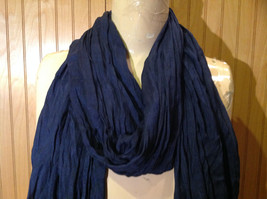 Navy Scrunched Style Silk Blend Fashion Scarf by Look Tasseled TAGS ATTACHED image 3