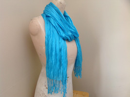 Light Blue Tasseled Scrunched Style Scarf Length 65 Inches Width 24 Inches image 2