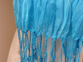 Light Blue Tasseled Scrunched Style Scarf Length 65 Inches Width 24 Inches image 4