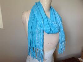 Light Blue Striped Silver Metallic Stripes Fashion Scarf by Fashion Scarf image 2