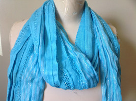 Light Blue Striped Silver Metallic Stripes Fashion Scarf by Fashion Scarf image 3