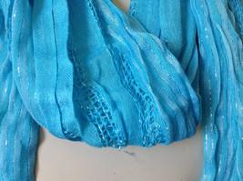 Light Blue Striped Silver Metallic Stripes Fashion Scarf by Fashion Scarf image 7