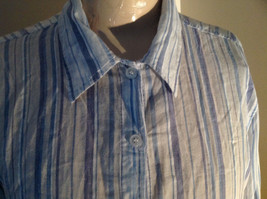 Light Blue Striped Button Up Long Sleeve Shirt by Erika Made in Nepal Size M image 3