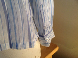 Light Blue Striped Button Up Long Sleeve Shirt by Erika Made in Nepal Size M image 4