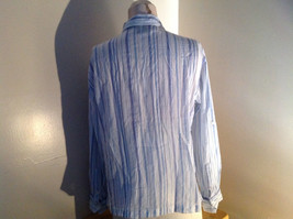 Light Blue Striped Button Up Long Sleeve Shirt by Erika Made in Nepal Size M image 5