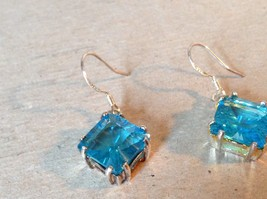 Light Blue Square Crystal Dangling Earrings Set in 925 Sterling Silver image 2