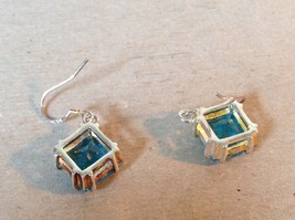 Light Blue Square Crystal Dangling Earrings Set in 925 Sterling Silver image 4