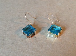 Light Blue Square Crystal Dangling Earrings Set in 925 Sterling Silver image 3