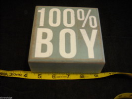 Light Blue Wooden Box Sign 100% Boy Saying image 2