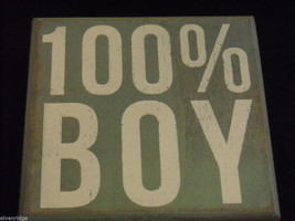 Light Blue Wooden Box Sign 100% Boy Saying image 5