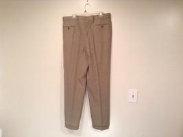 Light Brown Beige Plaid Pleated Front Dress Pants NO TAGS Measurements Below image 4