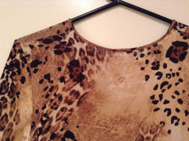 Light Dark Brown Printed Short Sleeve Top Scoop Neck Laura Donini No Size Tag image 6
