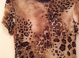 Light Dark Brown Printed Short Sleeve Top Scoop Neck Laura Donini No Size Tag image 4
