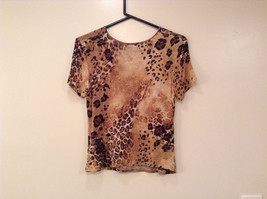 Light Dark Brown Printed Short Sleeve Top Scoop Neck Laura Donini No Size Tag image 2