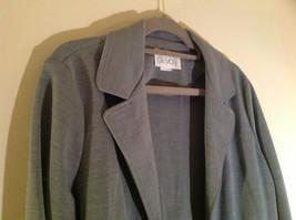 Light Gray Skirt Suit Jacket Open Front 2 Pockets Skirt Elastic Waist Size 14 image 2