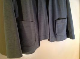 Light Gray Skirt Suit Jacket Open Front 2 Pockets Skirt Elastic Waist Size 14 image 3