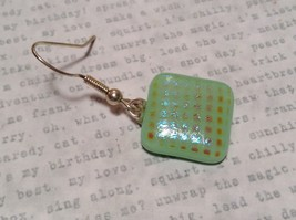 Light Green with Grid Like Metallic Enamel Mixed Metal Glass Square Earrings image 3