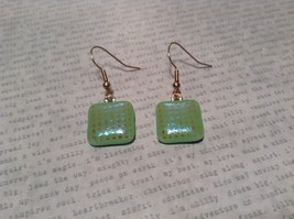 Light Green with Grid Like Metallic Enamel Mixed Metal Glass Square Earrings image 2