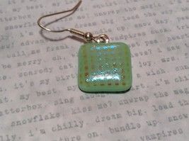 Light Green with Grid Like Metallic Enamel Mixed Metal Glass Square Earrings image 4