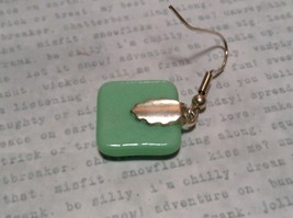 Light Green with Grid Like Metallic Enamel Mixed Metal Glass Square Earrings image 5
