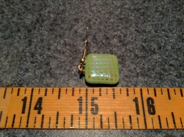 Light Green with Grid Like Metallic Enamel Mixed Metal Glass Square Earrings image 6