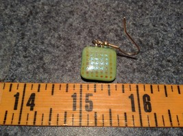 Light Green with Grid Like Metallic Enamel Mixed Metal Glass Square Earrings image 7