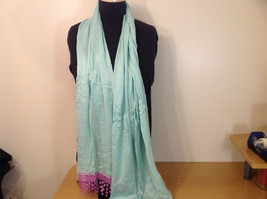 Light Mint Green Scarf with Lavender Lace Ends 100 Percent  Viscose image 2