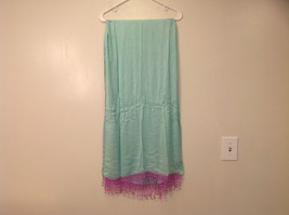 Light Mint Green Scarf with Lavender Lace Ends 100 Percent  Viscose image 3