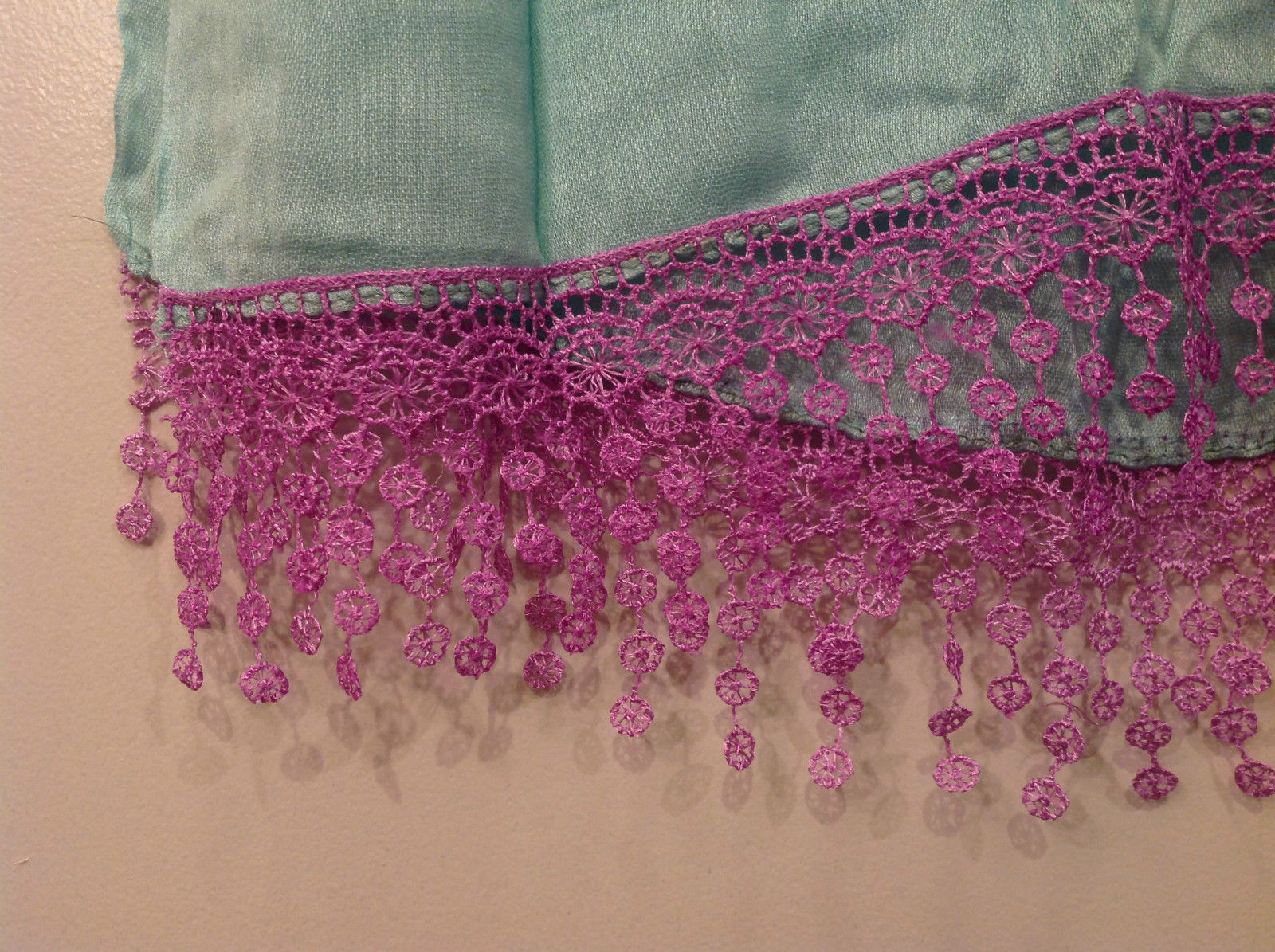 Light Mint Green Scarf with Lavender Lace Ends 100 Percent  Viscose