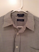 Light Green Blue Checked Button Up Long Sleeve Cotton Shirt Nautica Size Large image 2