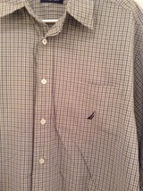 Light Green Blue Checked Button Up Long Sleeve Cotton Shirt Nautica Size Large image 3