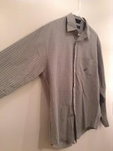 Light Green Blue Checked Button Up Long Sleeve Cotton Shirt Nautica Size Large image 4