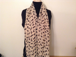 Light Pink Black Playing Cats Pattern Scarf 100 Percent Polyester NEW image 3