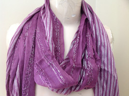 Light Plum Lilac Woven Material Striped Scarf Tassels Fashion Scarf image 2