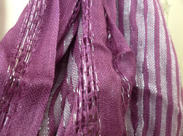 Light Plum Lilac Woven Material Striped Scarf Tassels Fashion Scarf image 6