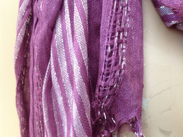 Light Plum Lilac Woven Material Striped Scarf Tassels Fashion Scarf image 4