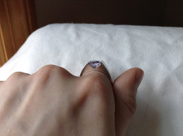 Light Purple CZ Stone Stainless Steel Ring Size 9  image 7